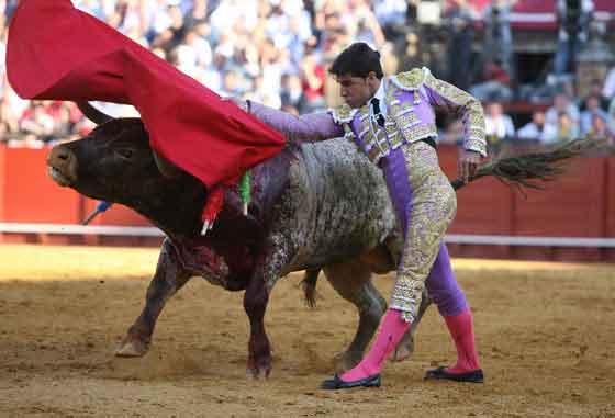 Valverde, en un gran muletazo con la diestra.  Foto: Juan Carlos Muñoz