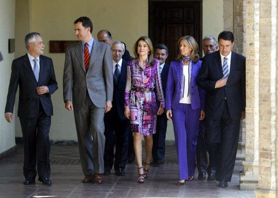 Jose Antonio Griñán, presidente de la Junta de Andalucía acompaña a los Príncipes de Asturias acompañado de la ministra Cristina Garmendia y y el alcalde en funciones, Rafael Blanco.  Foto: D.C.