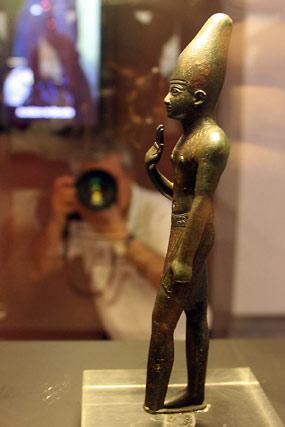 Detalle de la figura del dios oriental egipcio Reshef.  Foto: José Ángel García