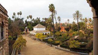 Los Jardines del Alcázar, con el alzado virtual de la torre en rojo.