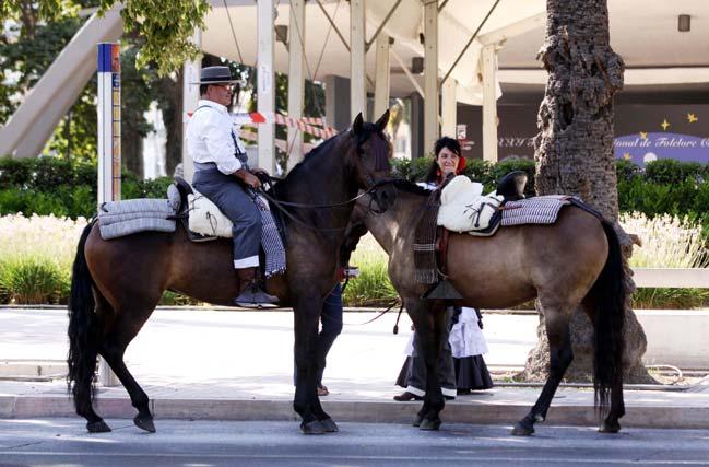 El calor también fue protagonista de la romería y caballos y caballistas buscaban una sombra en la que cobijarse. FOTO: Migue Fernández
