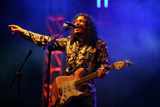 Raimundo Amador en un momento de su actuación en la Feria.
