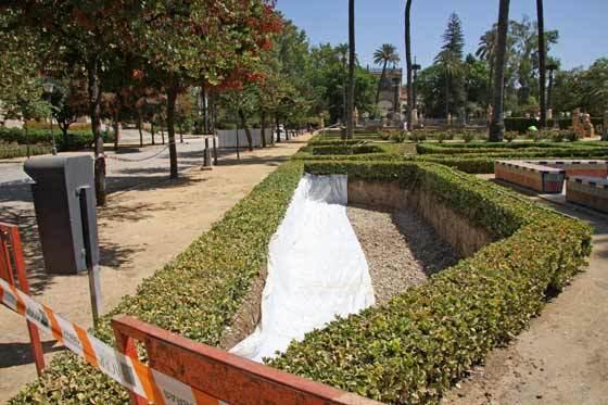 Una lona blanca cubre algunas plantaciones junto a unos setos.  Foto: B.Vargas