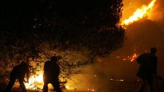 Voluntarios intentan apagar el incendio en los alrededores de Atenas.  Foto: Efe