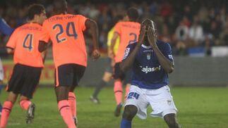 Keita, pero el jugador del Xerez, se lamenta tras haber fallado un remate en el que se veía con opciones de crear peligro  Foto: Pascual