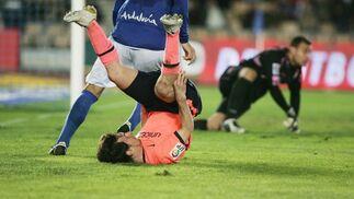 Messi tuvo algunos minutos en la fase final del encuentro y tuvo bastante protagonismo. En la imagen, se levanta tras hacer una jugada.   Foto: Pascual