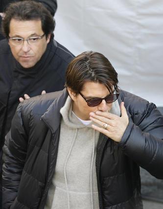 Tom Cruise y el productor José Luis Escolar.  Foto: Antonio Pizarro