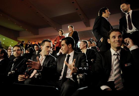 Ezequiel Mosquera, Samuel Sánchez, Alberto Contador y Alejandro Valverde (de izquierda a derecha).  Foto: Agencias