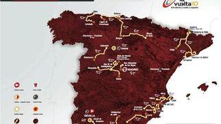 Mapa con el recorrido oficial de la Vuelta Ciclista a España 2010.  Foto: Agencias