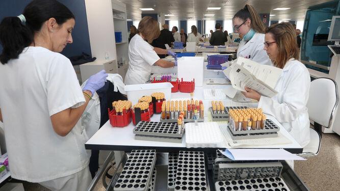 Personal sanitario en las instalaciones de los laboratorios del Complejo Hospitalario de Huelva.