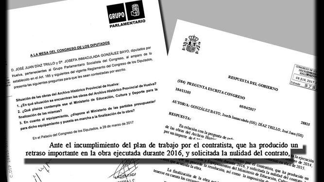 Documentación acerca del estado de las obras cuestionadas por el PSOE.