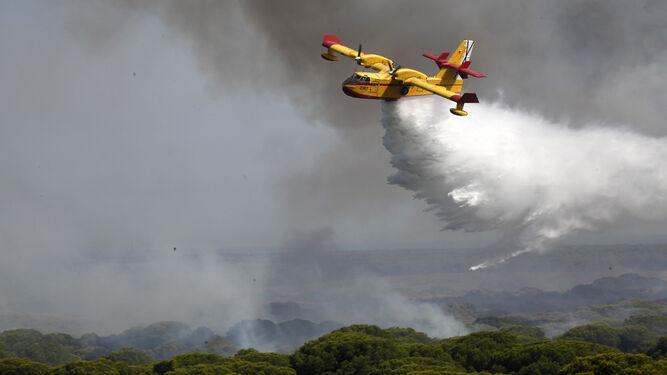 Un hidroavión descarga agua en la zona de Las Cumbres donde ocurrió el incendio de Cartaya.
