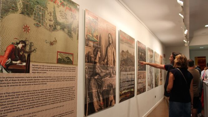 Visitantes miran con atención los distintos paneles y láminas que conforman la exposición.