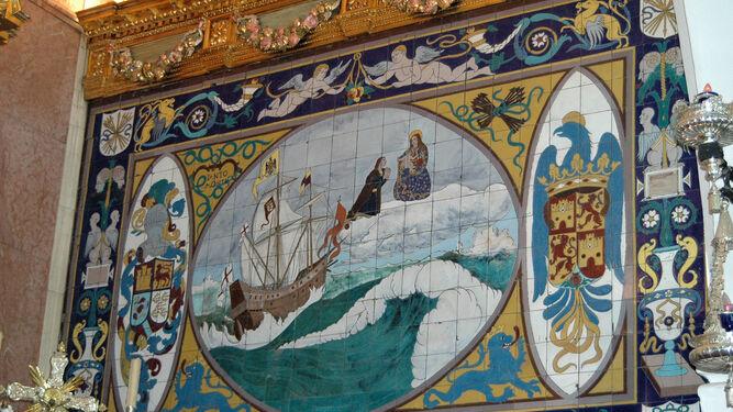 En 1920, en la efervescencia colombina se descubre un azulejo de Colón en el altar mayor del santuario de la Cinta.