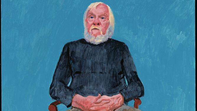 Apología de la pintura. Hockney recoge frontalmente a John Baldessari en su retrato para esta serie. Arriba, la diseñadora Rita Pynoos, cuidadamente dibujada con su falda bermellón. A la derecha de estas líneas, retrato de la comisaria de la muestra, Edith Daveney.