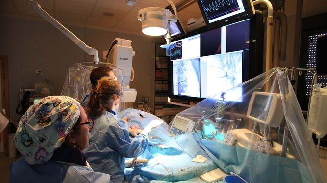 Intervención de angioplastia pulmonar realizada el mes pasado en el Juan Ramón.