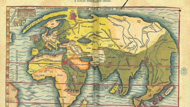 1. Mapa de la Tierra realizado en 1541 según las proyecciones de Ptolomeo. 2. Vista de una de las estancias de la exposición. 3. Planisferio celeste de Frederick de Wit (c. 1688). 4. Especulaciones sobre el interior de la Tierra en 'Mundus subterraneus' de Athanasius Kircher (1678). 5. Imagen extraída del 'Atlas completo de anatomía humana descriptiva' (1892) de Magín Cabanellas. 6. El Paraíso Terrenal, en el Beato de Liébana, códice de Fernando I y doña Sancha (1047). 7. La Tierra Prometida en 'Atlas ou representation du Monde Vniversel' de Gerard Mercator (1633).