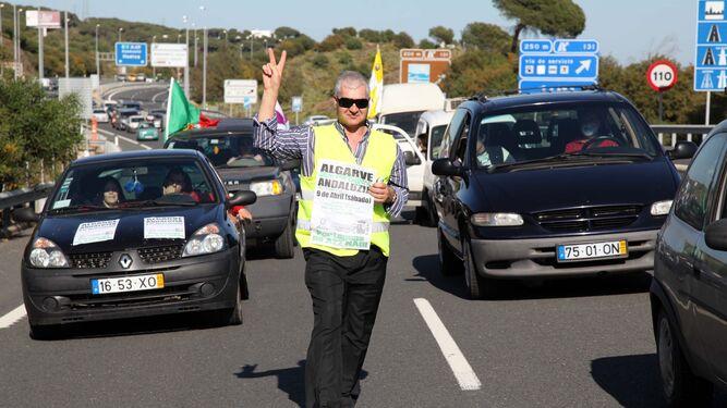 Protesta contra las tarifas en la vía do Infante.