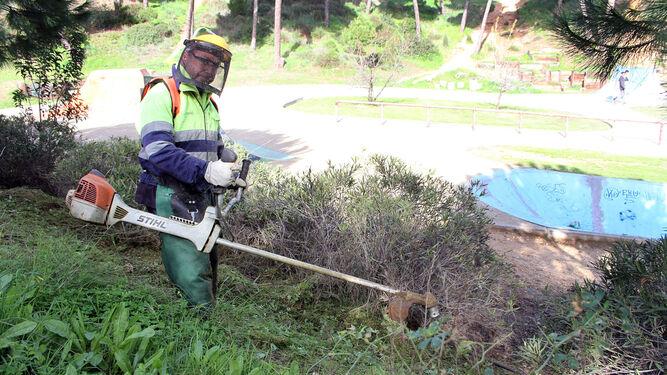 Un operario realiza labores de mantenimiento en uno de los espacios verdes del Parque Moret.