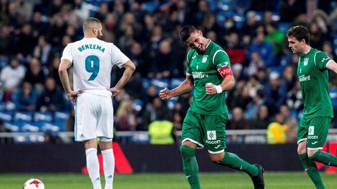Los jugadores del Leganés celebran el segundo gol.