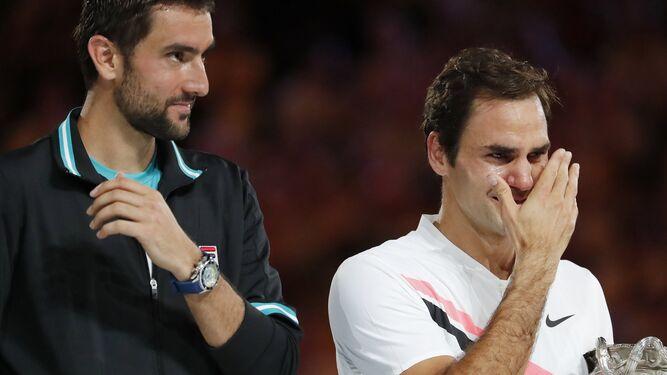 Federer se emocionó durante la entrega del trofeo