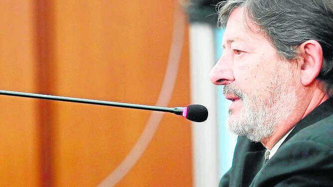 Javier Guerrero, en el momento de declarar ante el tribunal.