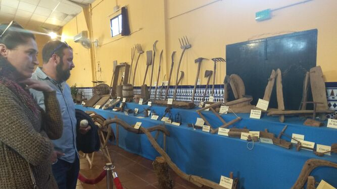 Algunos aperos de labranza así como otros utensilios usados en distintos oficios tradicionales que se exponen en el Salón Cultural.