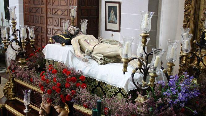 Un momento de la procesión de la Virgen de los Dolores, de Palos de la Fra.