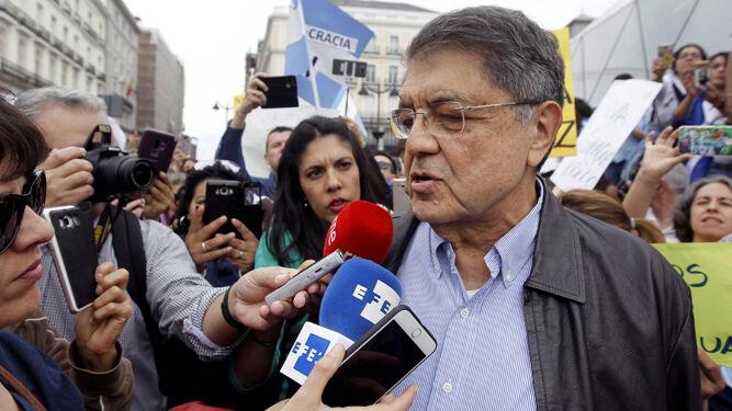 Sergio Ramírez, en la concentración este domingo en Madrid contra la represión en Nicaragua.