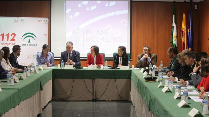 Un momento de la reunión de coordinación del Plan Romero que se celebró en la sede de la Delegación Territorial de Salud, en la capital onubense.
