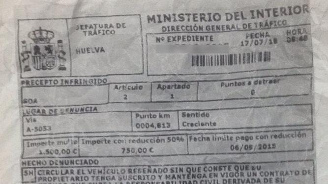 Resguardo de la sanción interpuesta por los agentes de la Benemérita.