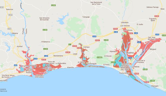 Mapa De Huelva Costa.La Mitad De La Costa De Huelva Esta En Riesgo De Inundaciones A Partir De 2050 Por El Cambio Climatico