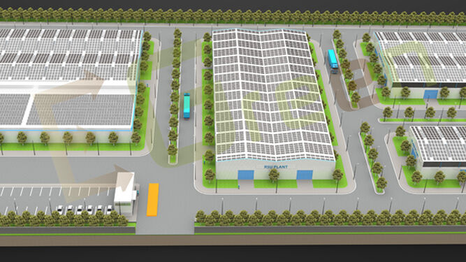 Maqueta virtual de la construcción del polígono industrial.